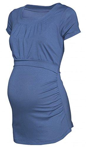 Happy Mama. Femme T-Shirt de Maternité Allaitement Double Couches Col Rond. 136p Jeans