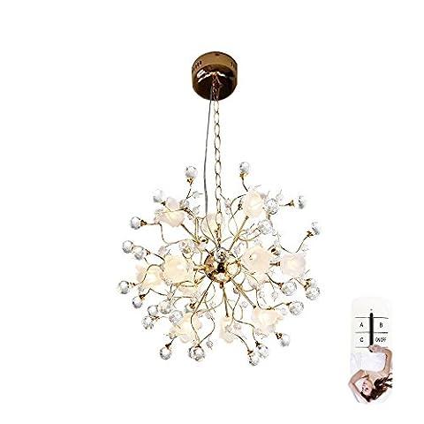 European Style Creative Golden Crystal LED Droplight Fixture 12 Licht American Style Modern Minimalist Warm Kronleuchter Remote Dimmen