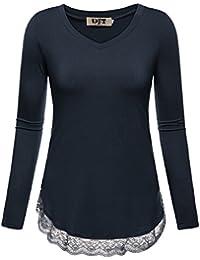 DJT T-shirt Uni Lache Manches longues Haut Pull Dentelle en bas Femme