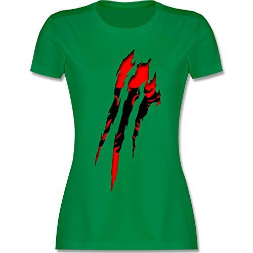 Länder - Albanien Krallenspuren - tailliertes Premium T-Shirt mit Rundhalsausschnitt für Damen Grün