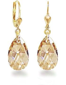 Schöner-SD, Vergoldete Ohrringe Ohrhänger Gold Doublé mit kleinen Swarovski® Kristall Tropfen 16mm
