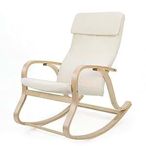 SONGMICS Fauteuil à bascule fauteuil berçante en bois bouleau Charge maximum: 120 kg beige LYY30M