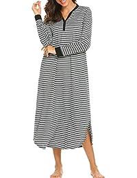 7de3fd31a23c9b Nachthemd Schlafkleid Stillen Pyjama Damen Lang Streifen Knopfleiste  V-Ausschnitt Nachtwäsche Schlafanzug Schwangere Jersey mit…