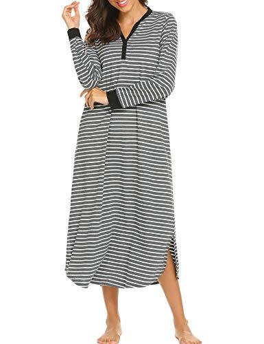 Nachthemd Damen Lang Baumwolle Streifen Knopfleiste Nachtwäsche stillen Hemdkleid bodenlang V-Neck L