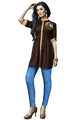 Kurti (J B Fashion Women\'S Rayon Brown Colour Kurta (k2024))