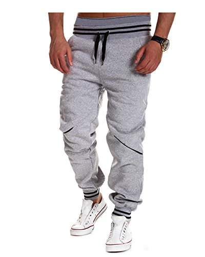Pantalon de Sport Homme Outdoor Hiphop Baggy Loose Long Pantalon pour Jogging Fitness Gris Clair