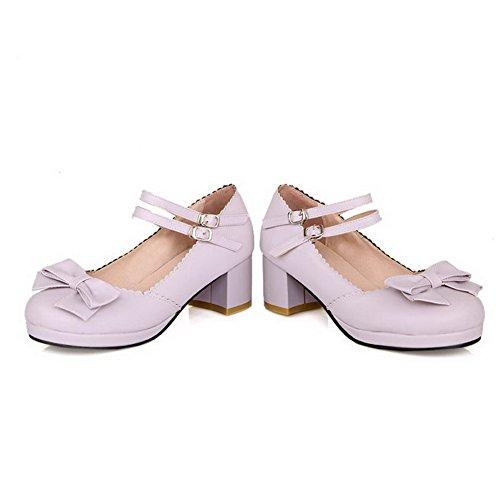 D-BalaMasa cinturino alla caviglia, con tacco Kitten materiale morbido pompe-Shoes Purple
