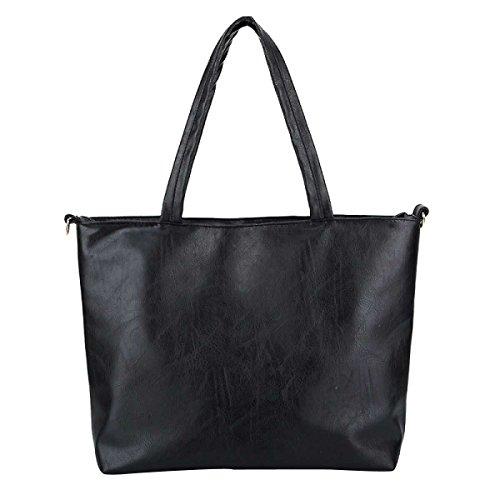 Frauen-Beutel-Art- Lammfell Schultertasche Handtasche,Black-OneSize -