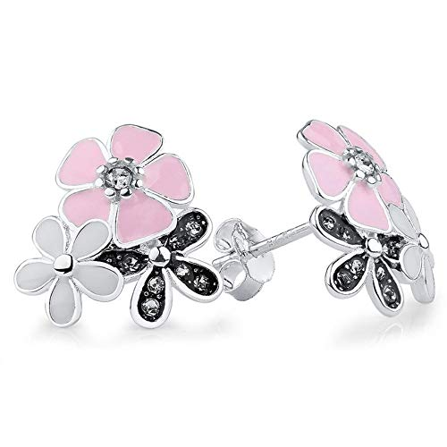 ZHOUYF Ohrringe Ohrstecker Ohrhänger 925 Sterling Silber Poetic Daisy Cherry Blossom Ohrstecker Pink Lotus Flower Ohrringe Für Frauen Engagement (Blossom Lotus Schmuck)