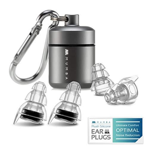 Mumba 2 Paar Gehörschutz Ohrstöpsel Wiederverwendbar Ohrenstöpsel mit Reisebox Ideal für Flugzug, Konzert, Clubs, Trommeln, Arbeiten (Schwarz)