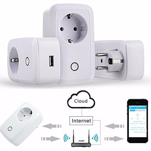 Preisvergleich Produktbild Smart Steckdose, M.Way intelligente WLAN Steckdose, smart Wifi Steckdose, WLAN Smart Steckdose mit App Steuerung für IOS und Android