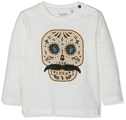 IKKS Junior tee Shirt Tete De Mort Moustache Camiseta, Beige (Blanc Cassé 19), 12-18 Meses (Talla del Fabricante: 12M) para Bebés