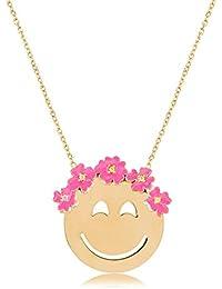 Ingenious Jewellery Collar de plata con corona emoji flor