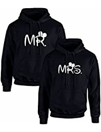 Pack de 2 Sudaderas Negras para Parejas, MR. y Mrs, Blanco
