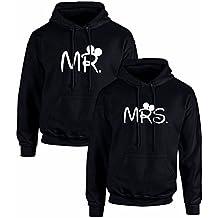 Pack de 2 Sudaderas Negras para Parejas, MR. y Mrs, Blanco