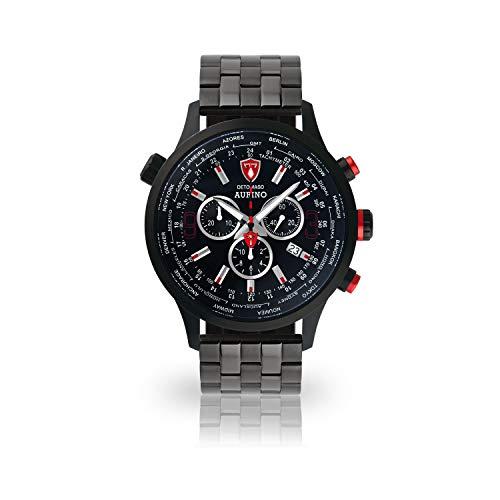 DETOMASO AURINO Reloj Caballero Cronógrafo Analógico Cuarzo Negro Correa de Acero Inoxidable Negro Esfera Negra DT1061-A-867