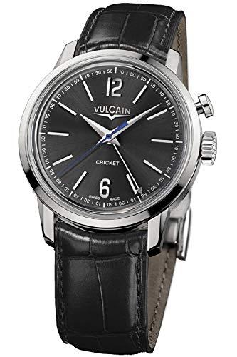 Vulcain Cricket 50s Presidents Herren Uhr analog Handaufzugwerk mit Leder Armband 100153.296L