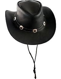 Westernhut Cowboyhut schwarz echt Leder S-Xl