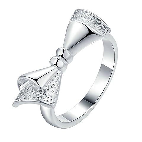 Onefeart Sterling Silber Ring für Mädchen Frauens Ring Weihnachtsgeschenk Rosette Hochzeitsband Größe 60 (Rosette Sling)