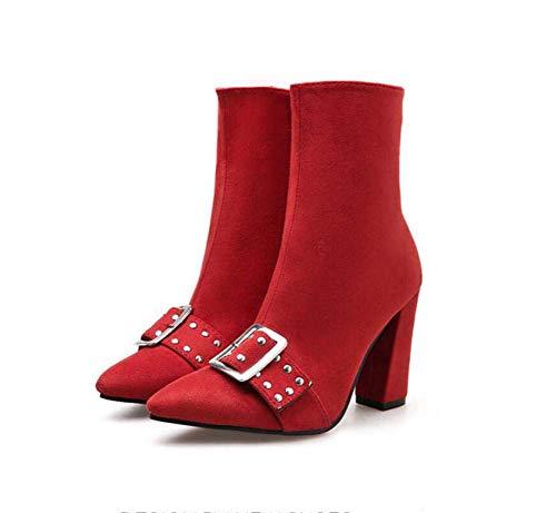 9.5 Centimetri Chunkly Tacco Caviglia Bootie Partito Abito Scarpe Donna Dolce Punta Rivetti Cintura Fibbia Martin Boot EU Dimensioni 35-40,Red,38EU