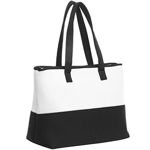 WARUDA LANE Strandtasche für Frauen Schultertasche Bowling-Tasche Hobos Handtaschen Tragetasche Weiches Leder & Nylon (Kleine Bowling Tasche Leder)
