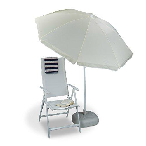 Relaxdays 10020901_126 ombrellone da giardino, diametro 180 cm, 8 stecche, naturale, 180x180x1.9 cm