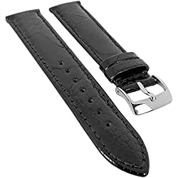 Minott watch strap Ostrich Leg Leather - Glossy Hautfreundluches Leather 29987S, Colour: Black, Length: 15 mm