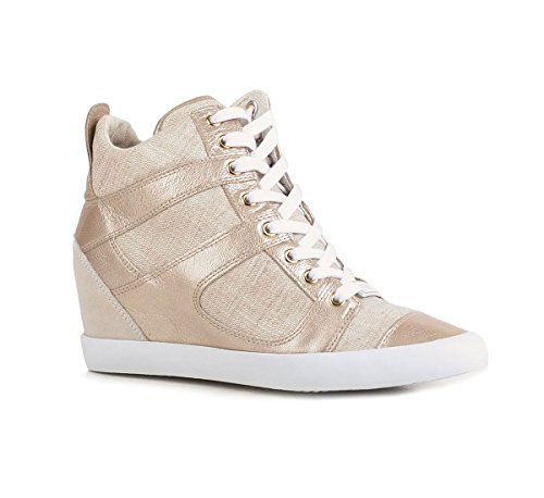 Guess sneakers donna in tela stringata con zeppa FL2ZEN (41, ARGENTO)