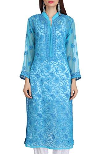 Lucknowi Chikankari Handmade Casual Wear Faux Georgette Kurti Kurtas by ADA A225894...