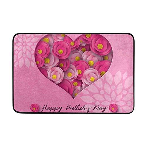 Happy Mothers Mom Day Floral Flowers Love Heart Doormats Floor Mats Shoe Scraper for Home Indoor Entrance Way Front Door Welcome mat Welcome mat - Front Scraper Mat