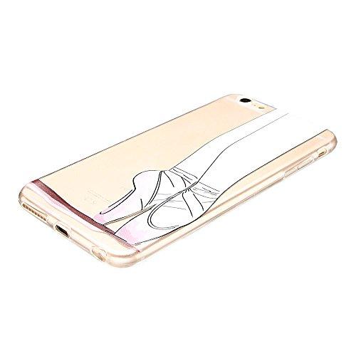 Coque iPhone 6 (4.7 pouce) , TPU Transparente Rose Ballerine Case Slim Souple Étui de Protection Soft Cover Anti Choc Ultra Mince Silicone Couverture Motif Design Bumper Gel Anfire Housse pour iPhone  Rose Ballerine