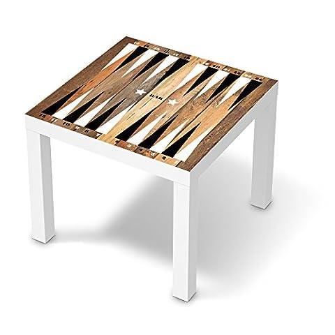Designfolie für IKEA Lack Tisch 55x55 cm | Babyzimmer Möbelfolie Klebefolie Sticker Aufkleber | fröhliche Einrichtungsideen IKEA Möbel für Kinder Wandtattoo | Kinder Spieltisch Backgammon (Retro Backgammon)