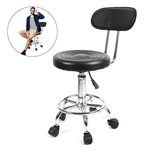 Taburete, taburete giratorio de altura regulable en altura con ruedas, peluquería ajustable salón...