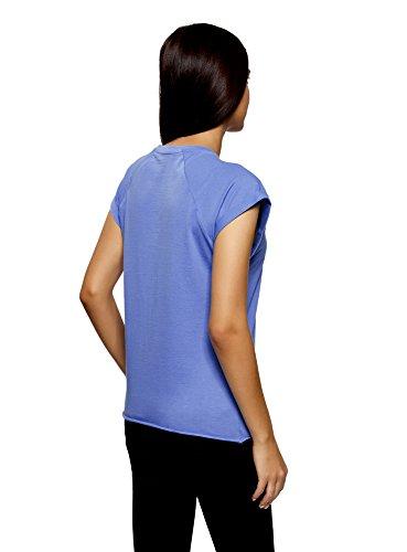 oodji Ultra Donna T-Shirt in Cotone con Stampa con Orlo Grezzo Blu (7519P)