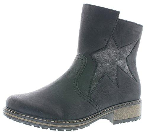 Rieker Damen Klassische Stiefel Z6865,Frauen Boots,Schlüpf-Stiefel,Slip-on-Boot,Blockabsatz 3.7cm,Schwarz/Black-Silver, EU 39