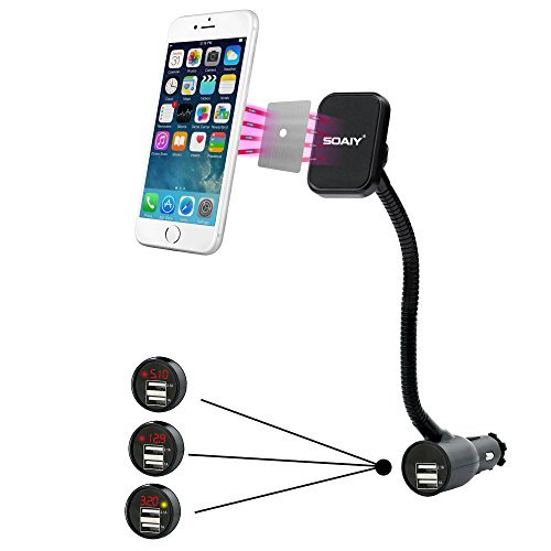 SOAIY 3-In-1 Cigarette Lighter Magnet Car Mount + Car Charger + Voltage Detector