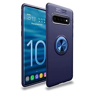 Shinyzone Hülle für Samsung Galaxy S10,Blau mit 360 Grad drehbarer Ring Ständer,Ultra Dünn Weich TPU Stoßfest Schutzhülle Kompatibel mit Magnetischer Autohalterung