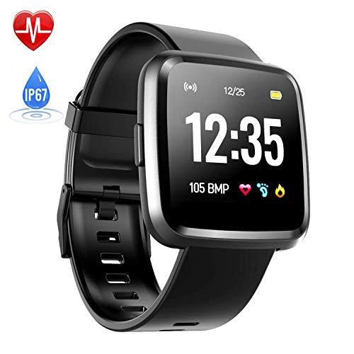 Hommie Touchscreen Smartwatch Wasserdicht IP67 Smart Watch Uhr mit Pulsmesser Fitness Tracker Sport Uhr mit Schrittzähler, Schlaf-Monitor, Call SMS Benachrichtigung Push für Android und iOS, Schwarz