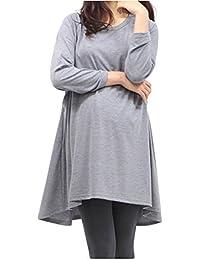 Bold N Elegant Women's Grey Full Sleeve Long Cotton Nursing Tops Pregnancy Maternity Clothes Breastfeeding T-Shirt Top Tee