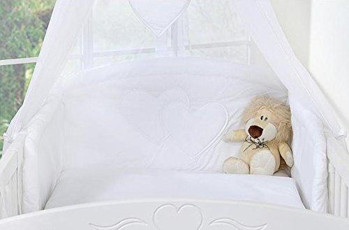 Tour de lit bébé blanc à coeur