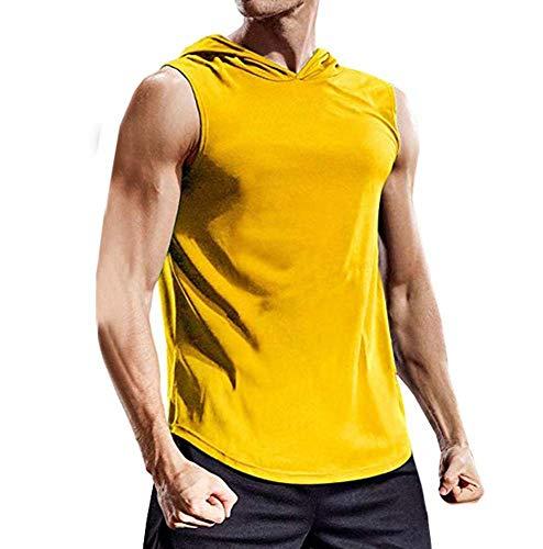 Ärmelloses Herren-Sportoberteil mit Kapuze, Herren-Fitness-Jogger-T-Shirt