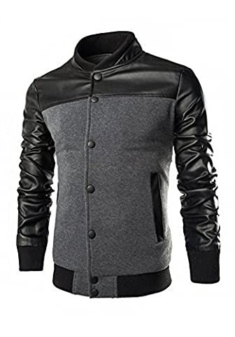 DOOXIUNDI Men's Stand Collar Slim Fit Lightweight Varsity Baseball Jacket (XL, gray)