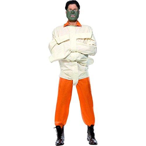 Hannibal Lecter Kostüm Zwangsjacke Psycho Orange weiß L 52/54 Halloweenkostüm Sträflingskostüm Mörder Killer Gefangener Kostüm