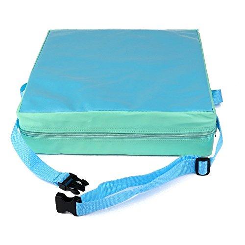 REFURBISHHOUSE Cojin Elevador de Silla ninos Asientos de Almuerzo portatil de Piel Sintetica de ninos Verde + Azul