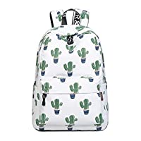 "Acmebon Girls Fashion Printed Pattern Backpack Casual Student Backpack Fit 14"" Laptop Cactus"