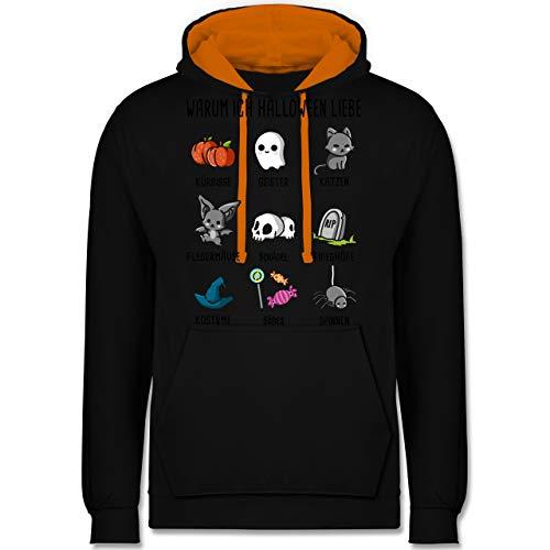 Halloween - Warum ich Halloween Liebe - XXL - Schwarz/Orange - JH003 - Kontrast Hoodie