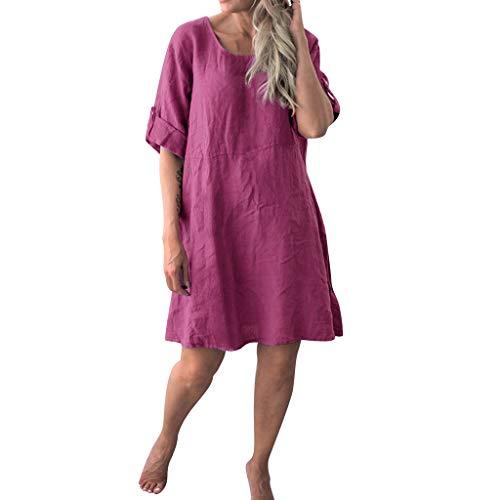 Langes Damenkleid, langes, lässiges kurzärmliges Kleid mit Rundhalsausschnitt, halblange Ärmel, lockerer Pullover, T-Shirt, Baggy, Tunika, Tops, Übergröße, Urlaub, Freizeit Gr. Medium, rot