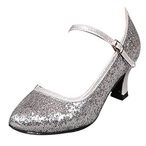 Yefree scarpe da ballo latino per le donne grandi paillettes confortevole traspirante il giro chiuso scarpe da ballo in pelle mid heel performance scarpe da ballo