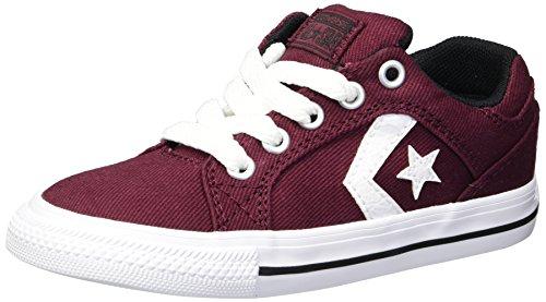 Converse Boys' El Distrito Twill Low Top Sneaker, deep Bordeaux/White/Black, 3 M US Little Kid