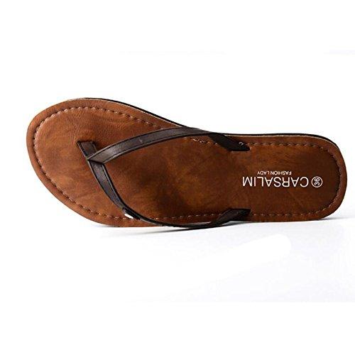 Pente avec sandales à talons hauts à bascule --- Pantoufles d'été Sandales de plage Chaussures de mode à la mode Blanc, Noir, Marron --- Herringbone fashion sweet Sandals Marron